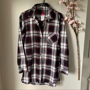 NWT LA SENZA / FLANNEL PJ BUTTON UP TOP